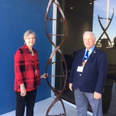 "Margo Green, Exhibit Chair for Pearland Arts League and Tom Green, Knight of San Jacinto with ""DNA"""